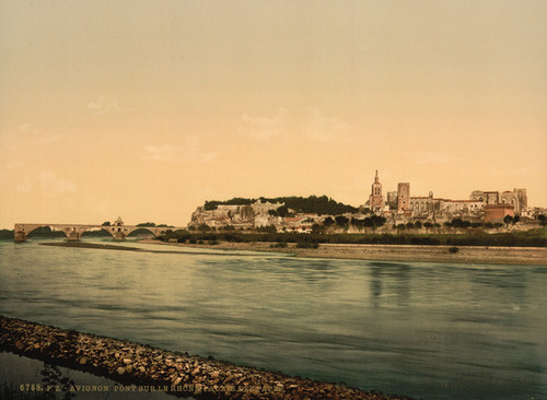 Art Prints of Palace Chapel and Bridge Over the Rhone, Provence, France (387490)
