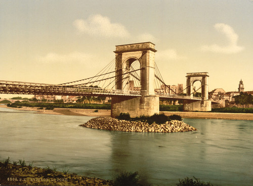 Art Prints of Suspension Bridge Over the Rhone, Avignon, Provence, France (387494)