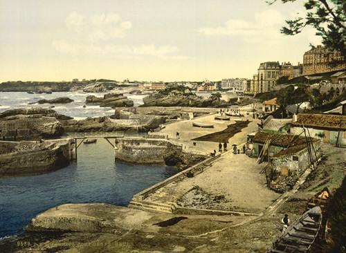 Art Prints of Fishing Harbor, Biarritz, Pyrenees, France (387525)
