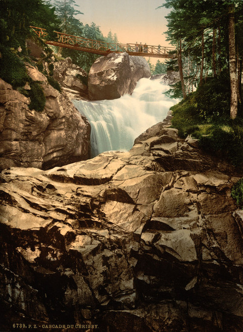 Art Prints of Cerisy or Cerisey Waterfall, Pyrenees, France (387534)