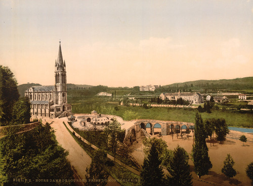 Art Prints of Notre Dame from Mount Calvary, Lourdes, Pyrenees, France (387552)
