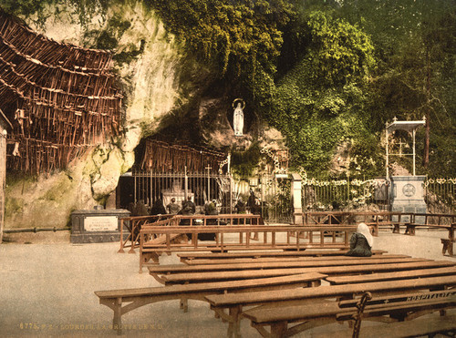 Art Prints of The Grotto of Notre Dame, Lourdes, Pyrenees, France (387553)