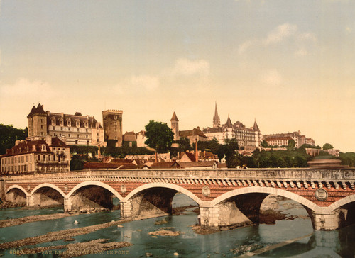 Art Prints of The Castle and Bridge, Pau, Pyrenees, France (387570)