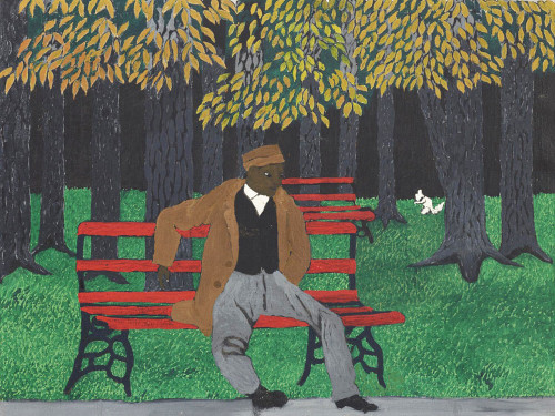 Man on a Bench by Horace Pippin