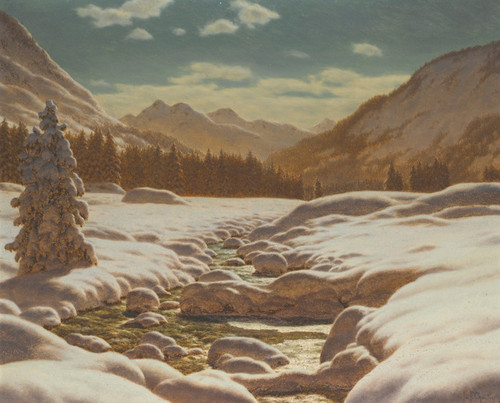 Art Prints of Mountains by Moonlight by Ivan Fedorovich Choultse