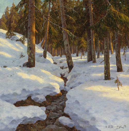 Art Prints of Russian Winter Creek by Ivan Fedorovich Choultse