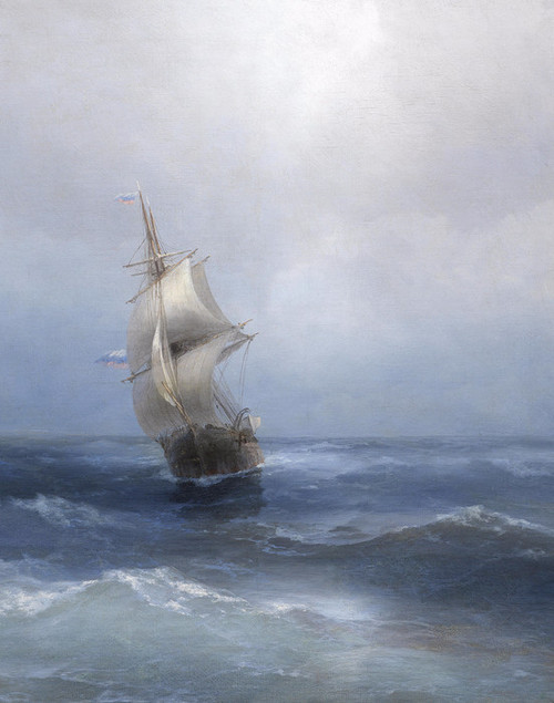Art Prints of Russian Two-Master on the Open Sea by Ivan Konstantinovich Aivazovsky