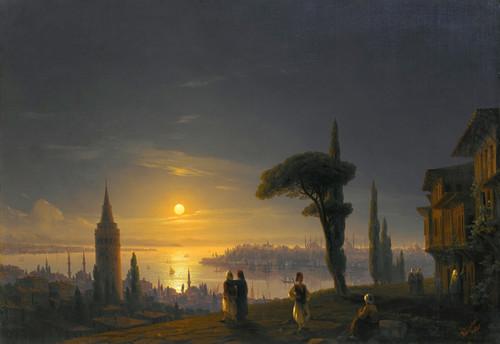 Art Prints of Galata Tower by Moonlight by Ivan Konstantinovich Aivazovsky