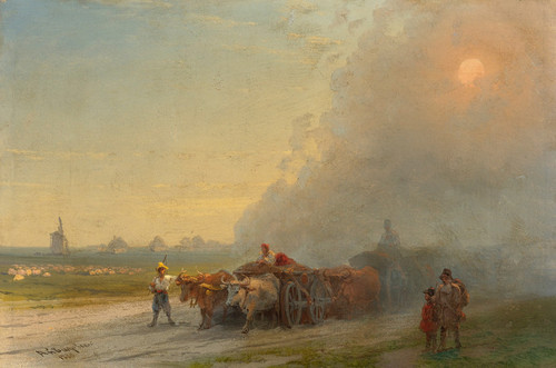 Art Prints of Ox-Carts in the Ukrainian Steppe by Ivan Konstantinovich Aivazovsky