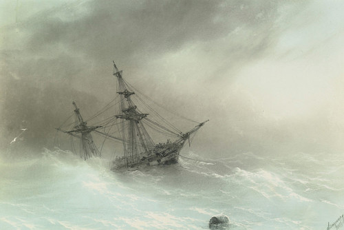 Art Prints of Ship in a Stormy Sea by Ivan Konstantinovich Aivazovsky