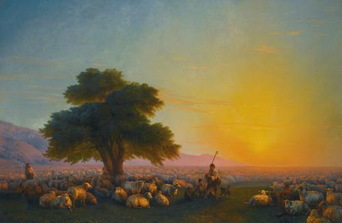 Art Prints of Shepherds with Flock at Sunset by Ivan Konstantinovich Aivazovsky