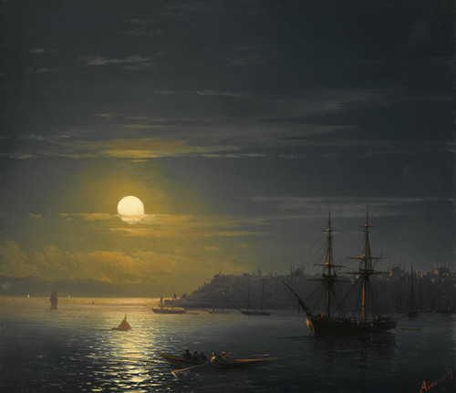 Art Prints of View of Constantinople in Moonlight by Ivan Konstantinovich Aivazovsky