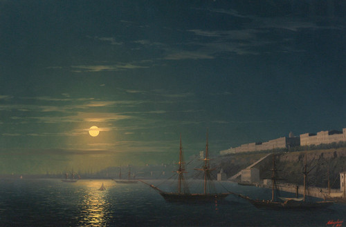 Art Prints of View of Odessa on a Moonlit Night by Ivan Konstantinovich Aivazovsky