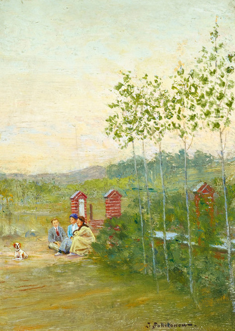 Art Prints of Family Scene at La Panne by Ivan Pavlovich Pokhitonov