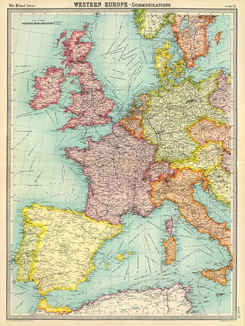 Art Prints of Europe Communications (2113012) by J.G. and John Bartholomew and Son