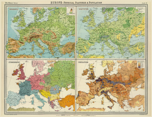 Art Prints of Europe, Population (2113011) by J.G., John Bartholomew and Son