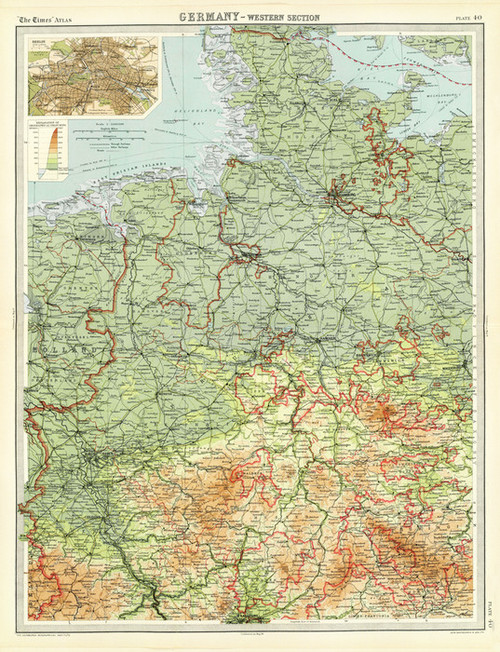 Art Prints of Germany, Western Section (2113044) by J.G., John Bartholomew and Son