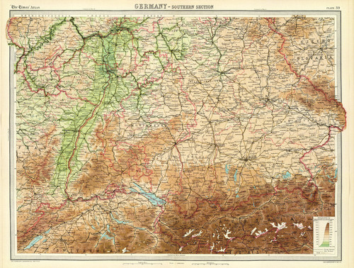 Art Prints of Germany, Southern Section (2113043) by J.G., John Bartholomew and Son