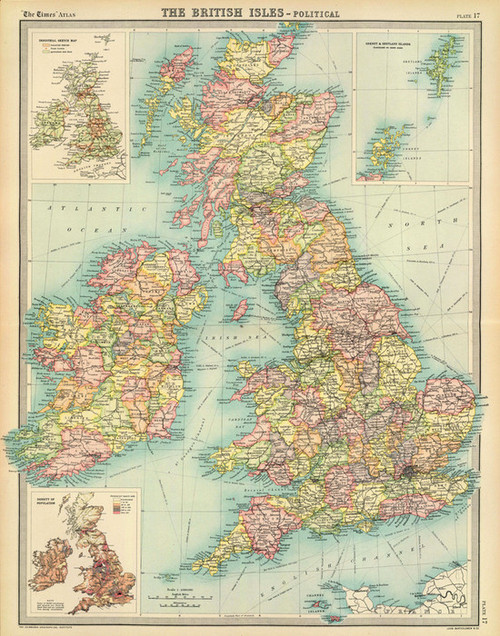 Art Prints of British Isles Political (2113018) by J.G., John Bartholomew and Son