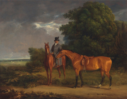 Art Prints of Groom on a Chestnut Hunter with a Bay Hunter by Jacques-Laurent Agasse