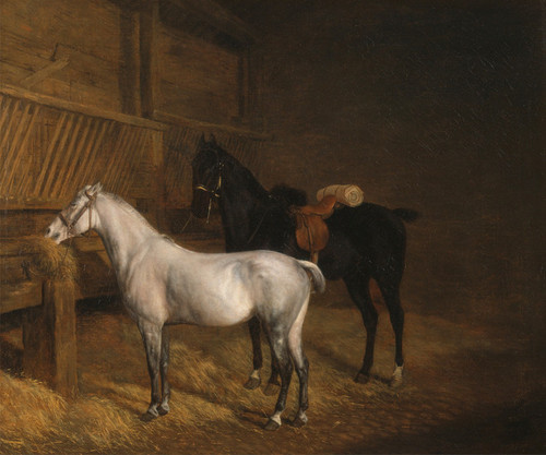 Art Prints of A Grey Pony and a Black Charger in a Stable by Jacques-Laurent Agasse