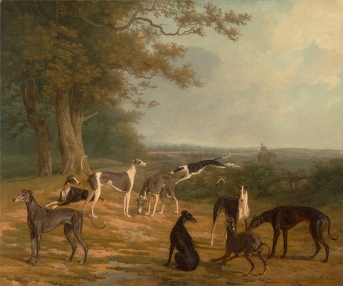 Art Prints of Nine Greyhounds in a Landscape by Jacques-Laurent Agasse