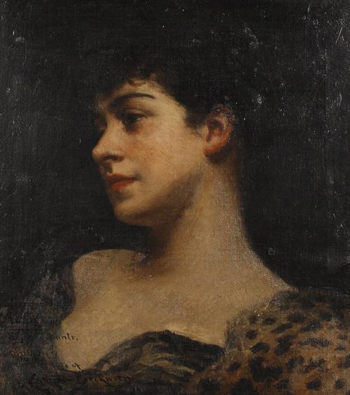 Art Prints of Bust Portrait of Judy Fox, a Bacchante by James Carroll Beckwith