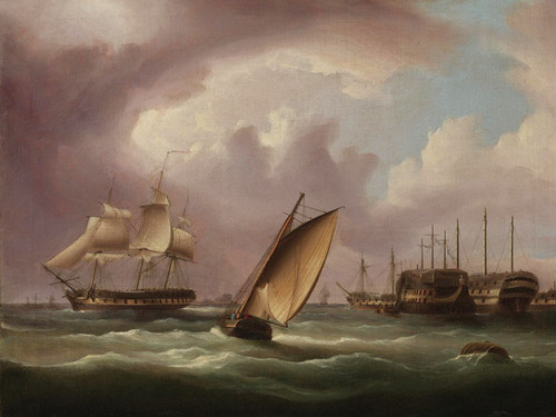 Art Prints of American Frigate and English Prison Hulks by James Edward Buttersworth