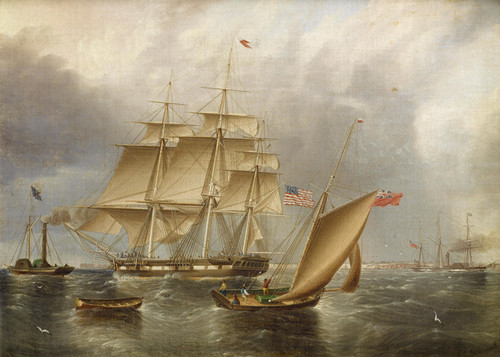 Art Prints of American Ship being Towed out by James Edward Buttersworth
