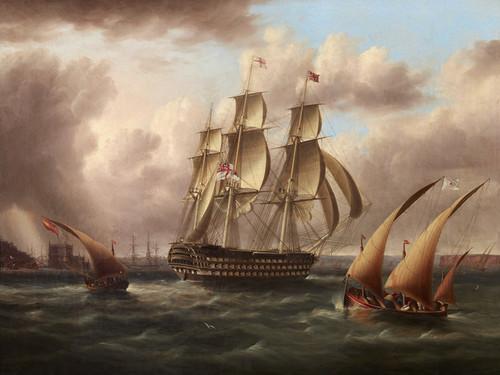 Art Prints of Three Decker, White Fleet off Belem Castle by James Edward Buttersworth