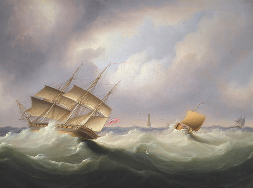 Art Prints of Frigate off a Lighthouse by James Edward Buttersworth