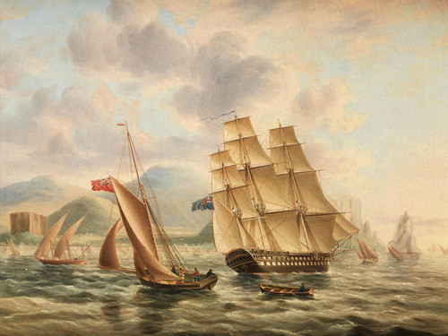 Art Prints of Shipping off Palermo in the Mediterranean by James Edward Buttersworth