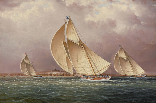 Art Prints of Yachting in Boston Harbor by James Buttersworth