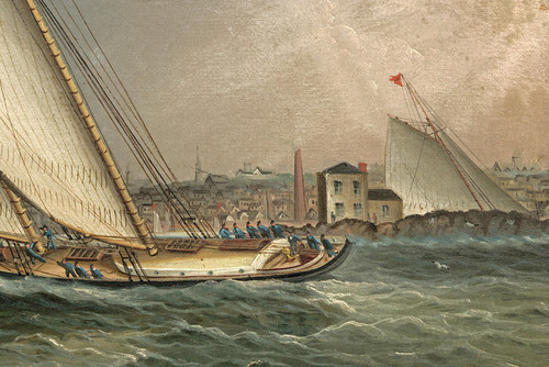 Art Prints of Yacht Psyche Leading the Fleet in Newport RI by James Buttersworth