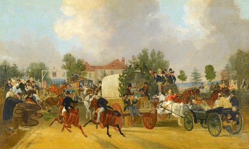Art Prints of A Trip to Epsom, the Cock at Sutton by James Pollard