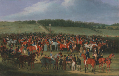 Art Prints of Epsom races, the Betting Post by James Pollard