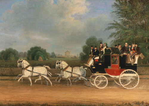 Art Prints of London Faringdon Coach Passing Buckland House by James Pollard