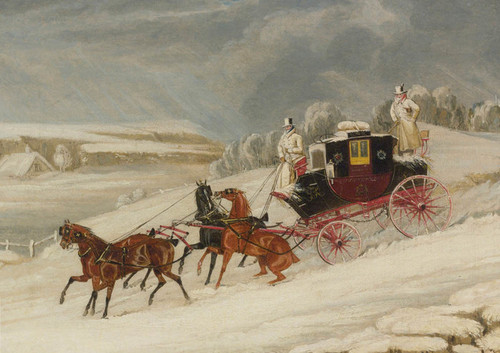 Art Prints of London Glasgow Royal Mail Coach in a Snowstorm by James Pollard