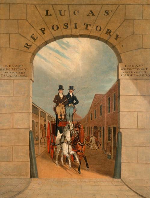 Art Prints of Schooling a Pair in a Brake, Lucas Yard, Clerkenwell by James Pollard