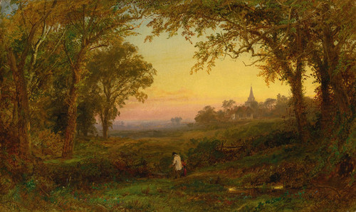Art Prints of Hurstbourne Church, Lord Portsmouths Park by Jasper Francis Cropsey