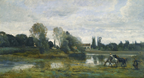 Art Prints of Horses Watering in d'Avray by Camille Corot