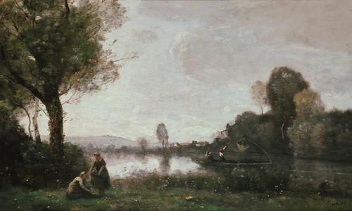 Art Prints of la Seine a Chatou or River Scene at Chatou by Camille Corot
