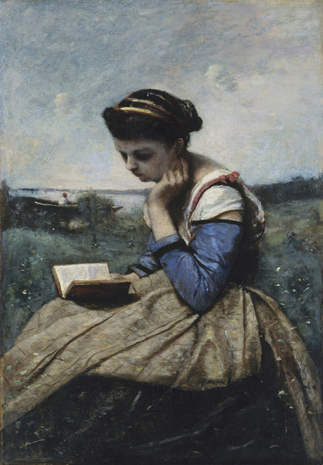 Art Prints of A Woman Reading by Camille Corot