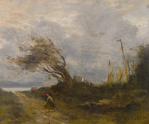 Art Prints of A Gale from the Sea by Camille Corot