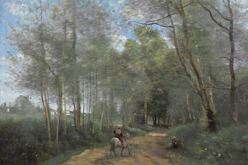 Art Prints of A Rider at the Entrance of the Forest, d'Avray by Camille Corot