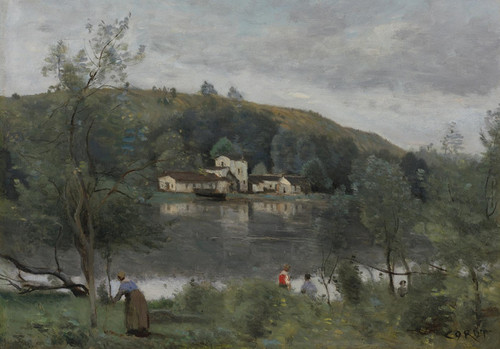 Art Prints of Edge of the Fishing Pond, Avray by Camille Corot