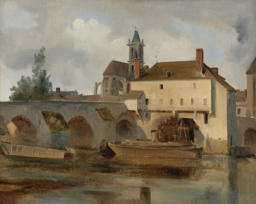 Art Prints of Bridge and Church, Moret sur Loing by Camille Corot