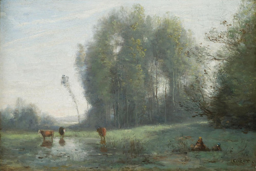 Art Prints of Cows by a Pool by Camille Corot