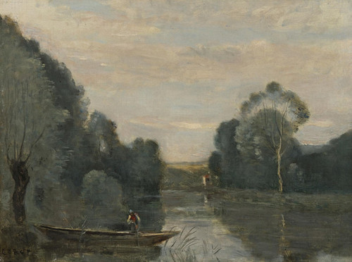 Art Prints of Fisherman's Boat, Morning by Camille Corot