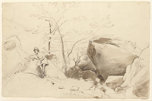 Art Prints of Figure Leaning Against a Rock by Camille Corot